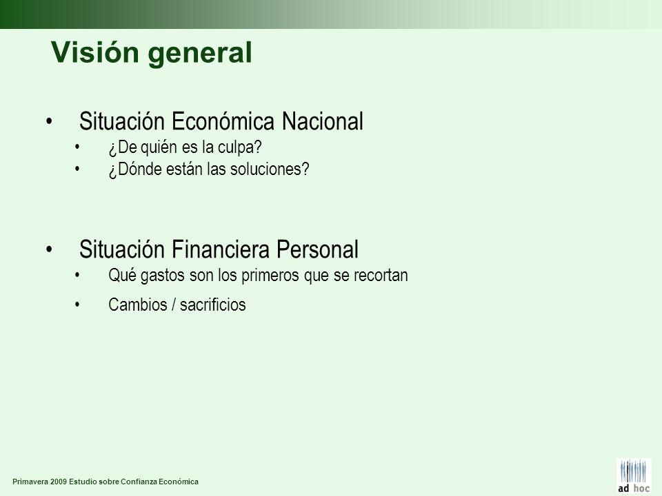 Primavera 2009 Estudio sobre Confianza Económica Visión general Situación Económica Nacional ¿De quién es la culpa? ¿Dónde están las soluciones? Situa