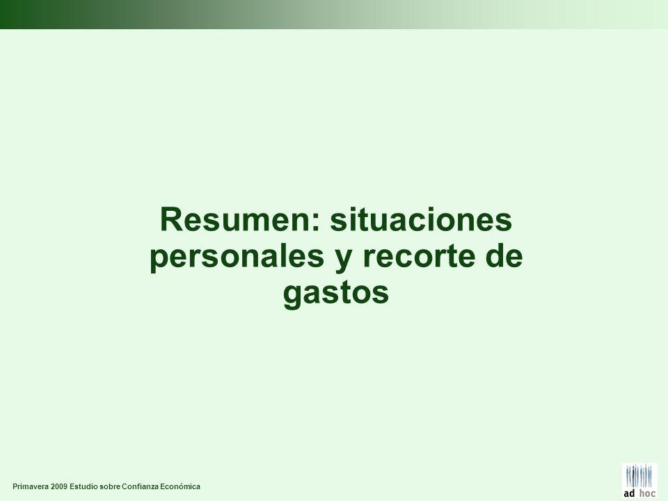 Primavera 2009 Estudio sobre Confianza Económica Resumen: situaciones personales y recorte de gastos