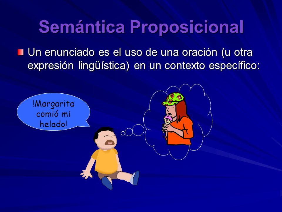 Semántica Proposicional Un enunciado es el uso de una oración (u otra expresión lingüística) en un contexto específico: !Margarita comió mi helado!