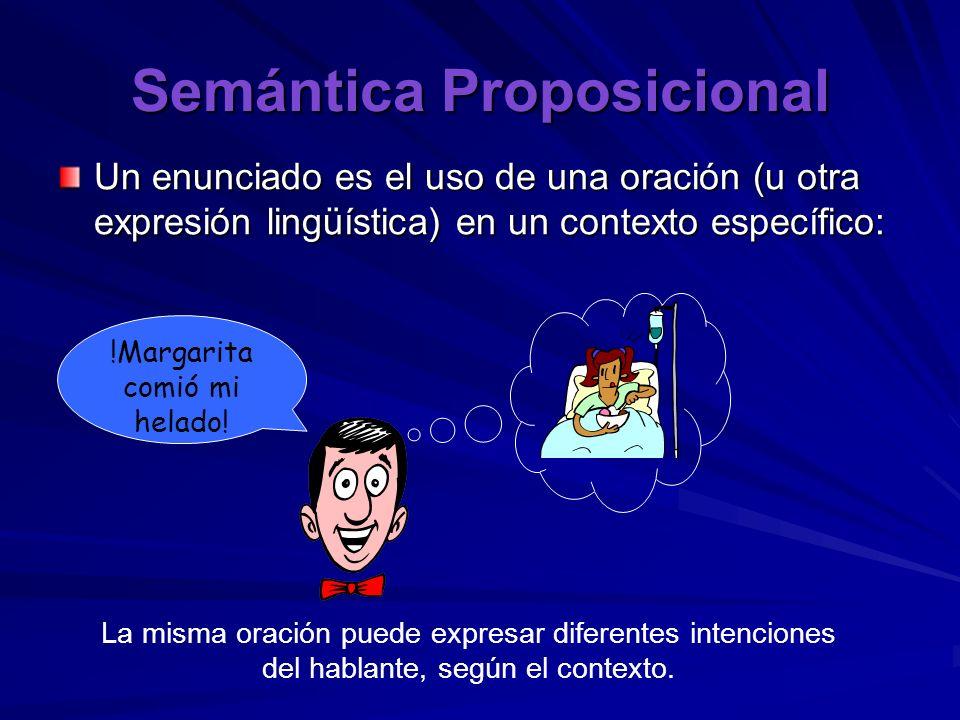 Semántica Proposicional Un enunciado es el uso de una oración (u otra expresión lingüística) en un contexto específico: !Margarita comió mi helado! La