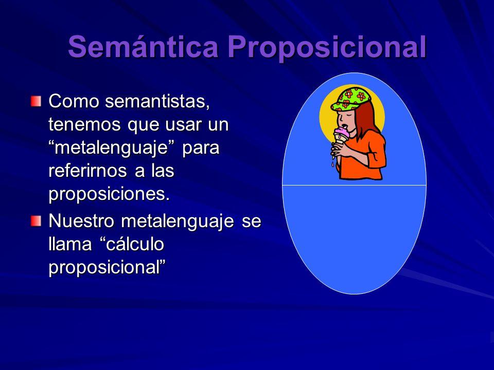 Semántica Proposicional Como semantistas, tenemos que usar un metalenguaje para referirnos a las proposiciones. Nuestro metalenguaje se llama cálculo