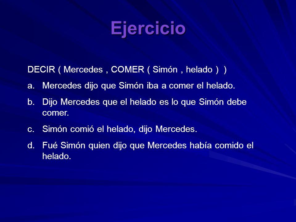 Ejercicio DECIR ( Mercedes, COMER ( Simón, helado ) ) a.Mercedes dijo que Simón iba a comer el helado. b.Dijo Mercedes que el helado es lo que Simón d