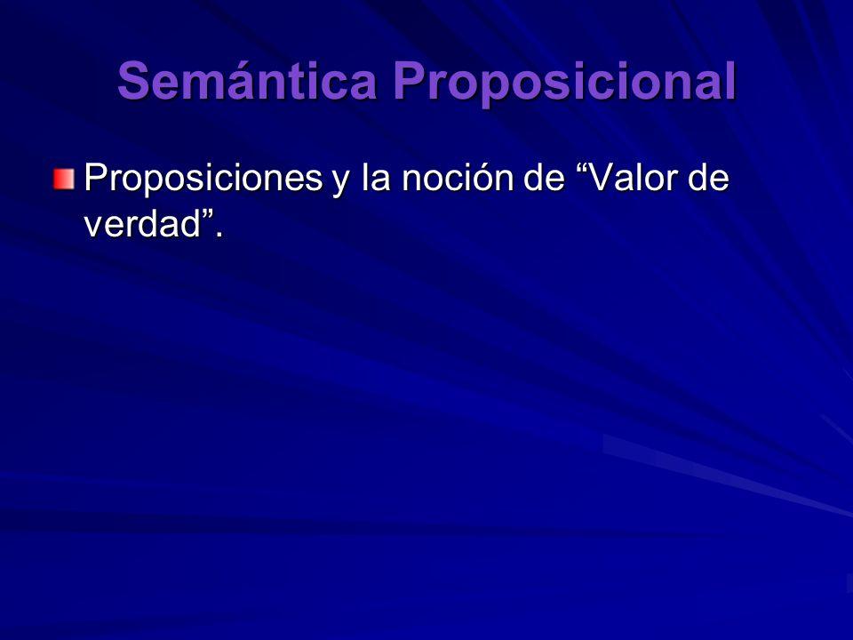 Semántica Proposicional Proposiciones y la noción de Valor de verdad.