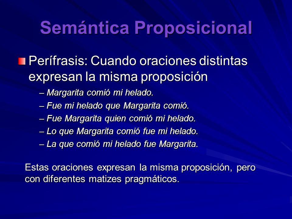Semántica Proposicional Perífrasis: Cuando oraciones distintas expresan la misma proposición – Margarita comió mi helado. – Fue mi helado que Margarit