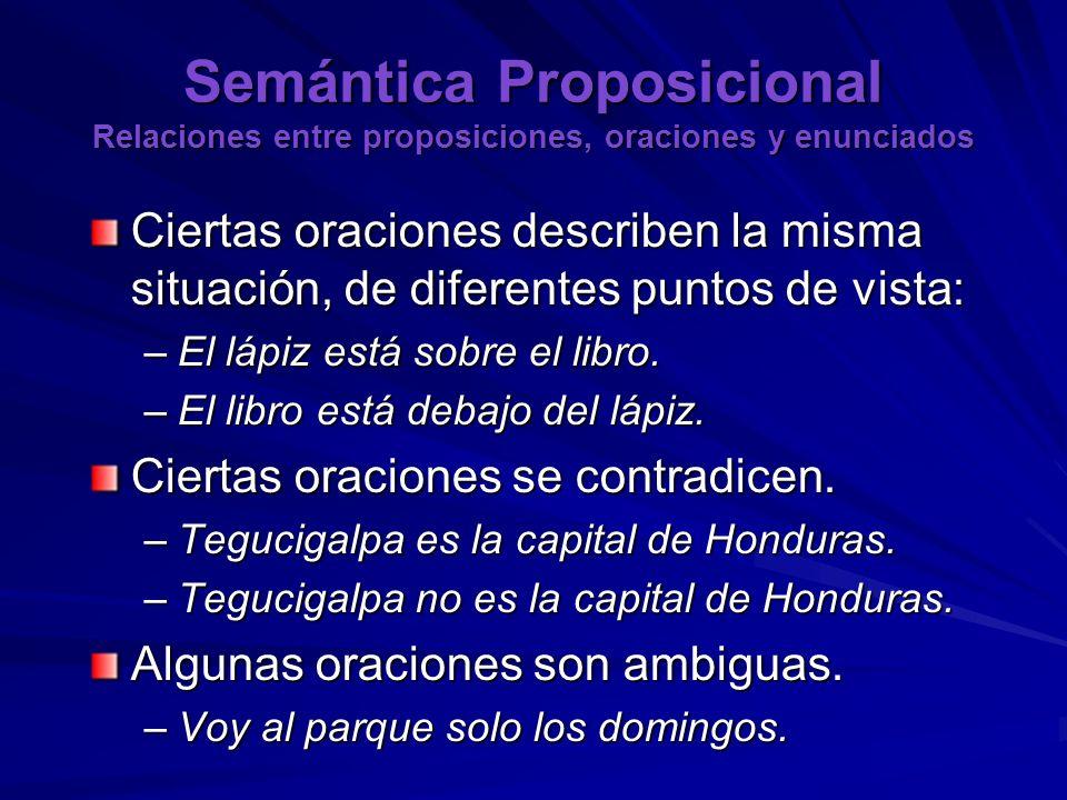 Semántica Proposicional Relaciones entre proposiciones, oraciones y enunciados Ciertas oraciones describen la misma situación, de diferentes puntos de