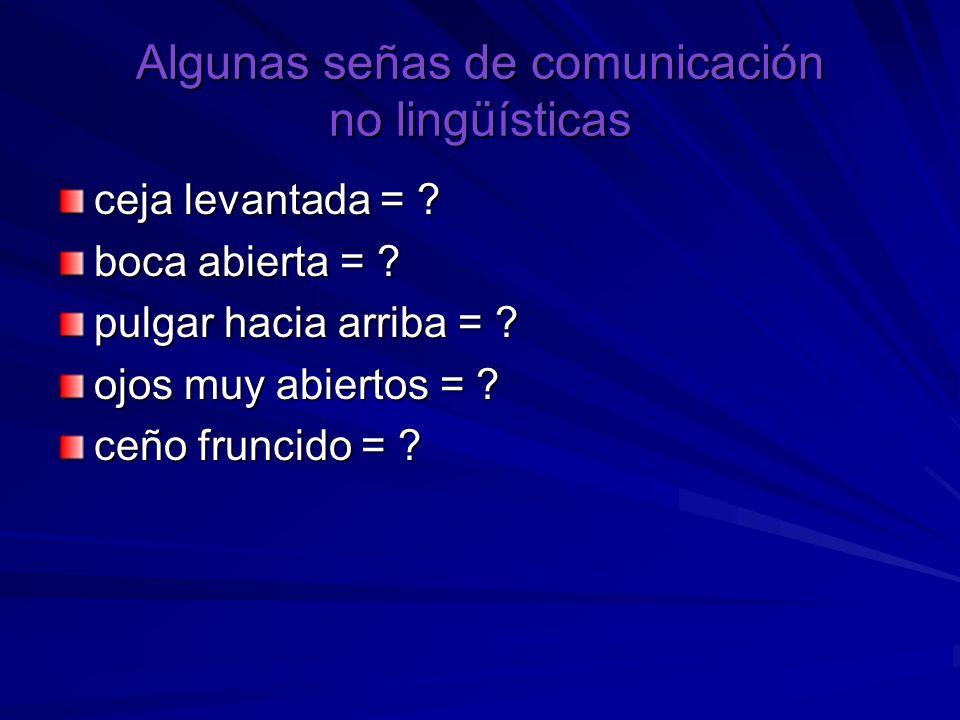 Algunas señas de comunicación no lingüísticas ceja levantada = ? boca abierta = ? pulgar hacia arriba = ? ojos muy abiertos = ? ceño fruncido = ?