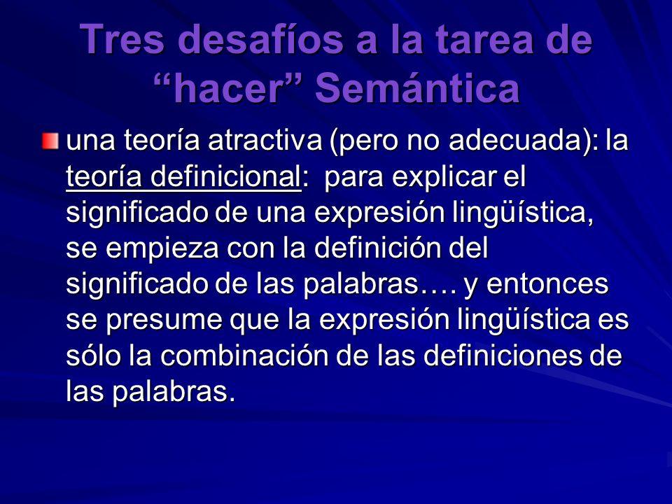 Tres desafíos a la tarea de hacer Semántica una teoría atractiva (pero no adecuada): la teoría definicional: para explicar el significado de una expre
