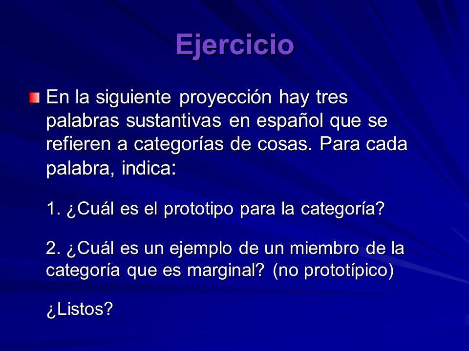 Ejercicio En la siguiente proyección hay tres palabras sustantivas en español que se refieren a categorías de cosas. Para cada palabra, indica : 1. ¿C