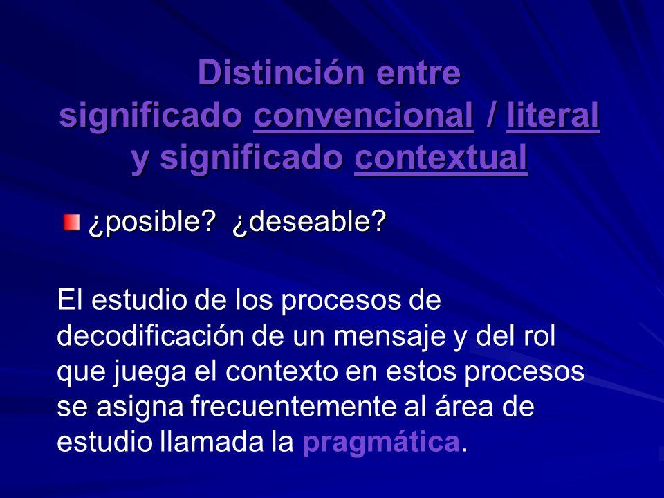 Distinción entre significado convencional / literal y significado contextual ¿posible? ¿deseable? El estudio de los procesos de decodificación de un m