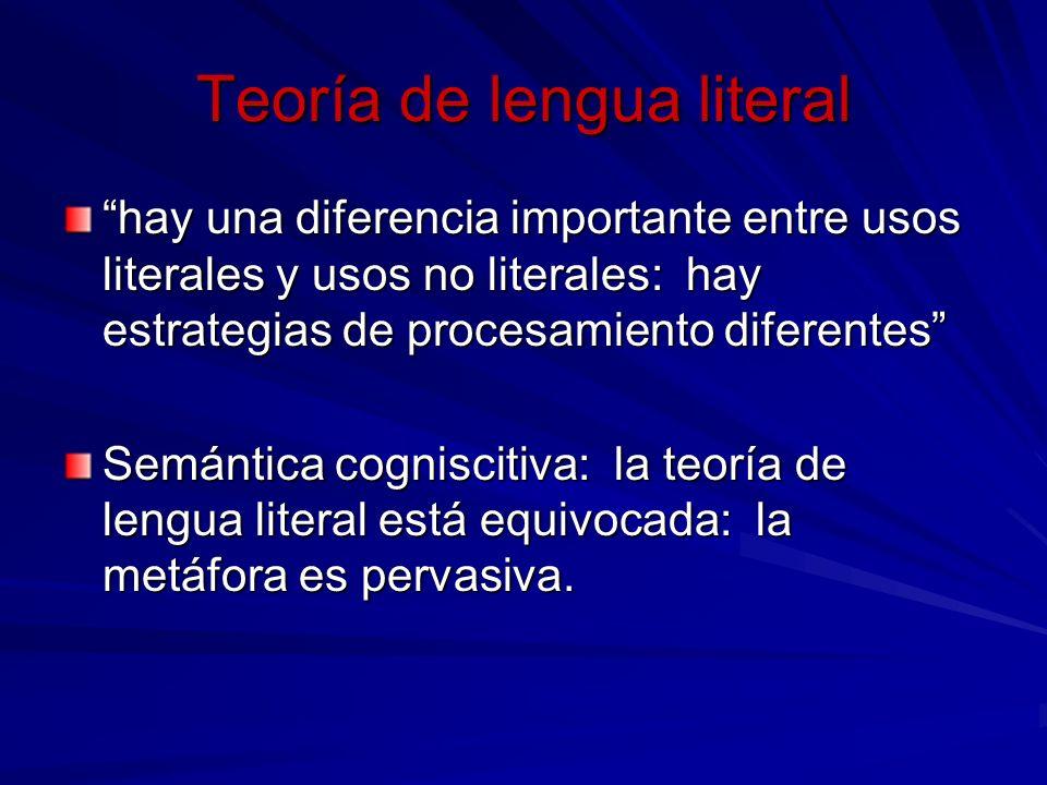 Teoría de lengua literal hay una diferencia importante entre usos literales y usos no literales: hay estrategias de procesamiento diferentes Semántica