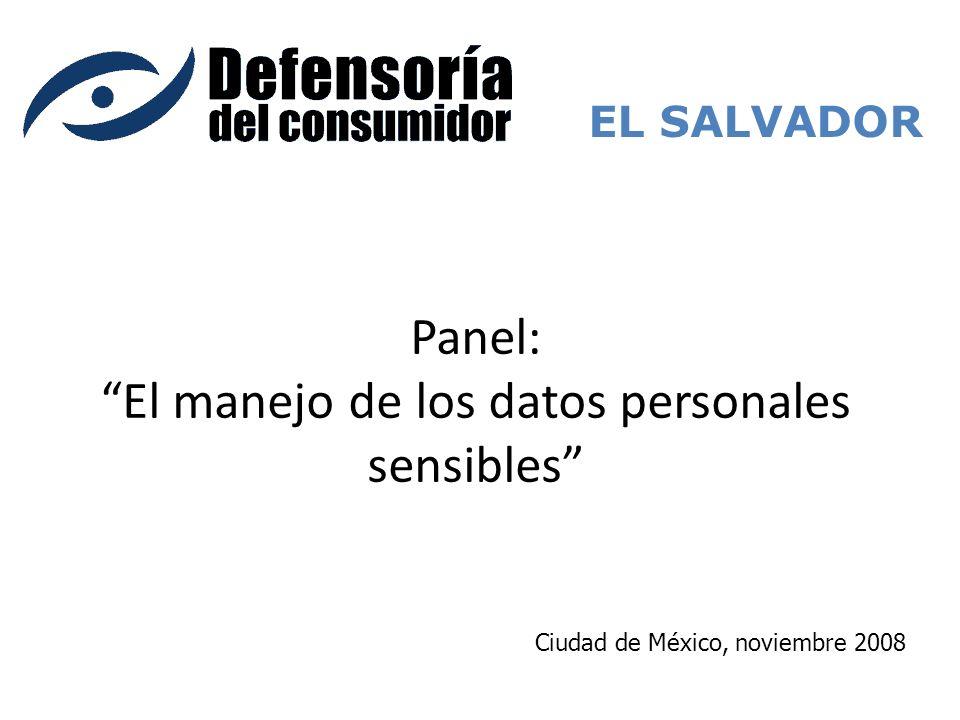 Panel: El manejo de los datos personales sensibles EL SALVADOR Ciudad de México, noviembre 2008