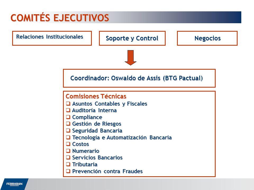 COMITÉS EJECUTIVOS COMITÉS EJECUTIVOS Relaciones Institucionales Negocios Soporte y Control Coordinador: Oswaldo de Assis (BTG Pactual Coordinador: Os