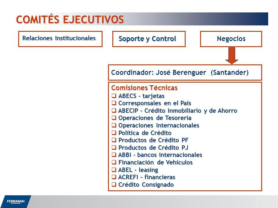 COMITÉS EJECUTIVOS Relaciones Institucionales Soporte y Control Negocios Coordinador: José Berenguer (Santander) Comisiones Técnicas ABECS – tarjetas