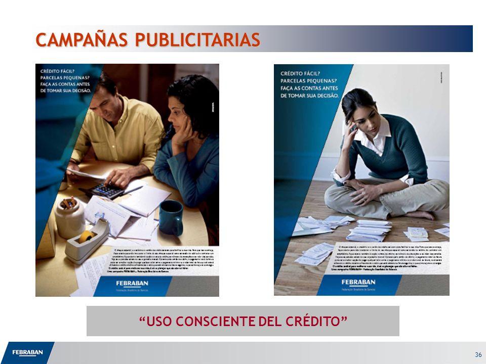 36 CAMPAÑAS PUBLICITARIAS CAMPAÑAS PUBLICITARIAS USO CONSCIENTE DEL CRÉDITO