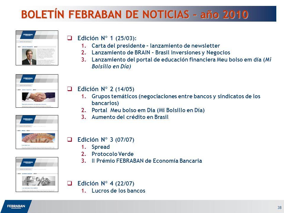 38 BOLETÍN FEBRABAN DE NOTICIAS – año 2010 Edición Nº 1 (25/03): 1.Carta del presidente – lanzamiento de newsletter 2.Lanzamiento de BRAIN – Brasil In