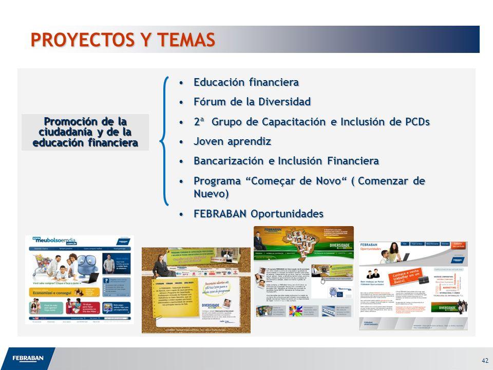42 PROYECTOS Y TEMAS Educación financieraEducación financiera Fórum de la DiversidadFórum de la Diversidad 2ª Grupo de Capacitación e Inclusión de PCD