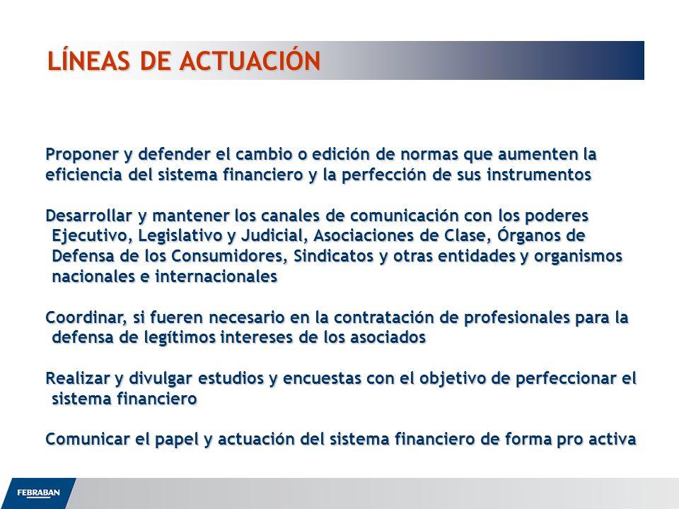 LÍNEAS DE ACTUACIÓN Proponer y defender el cambio o edición de normas que aumenten la eficiencia del sistema financiero y la perfección de sus instrum