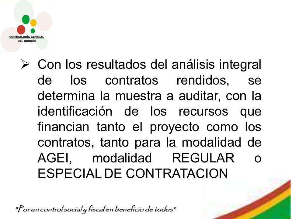 Por un control social y fiscal en beneficio de todos Con los resultados del análisis integral de los contratos rendidos, se determina la muestra a aud