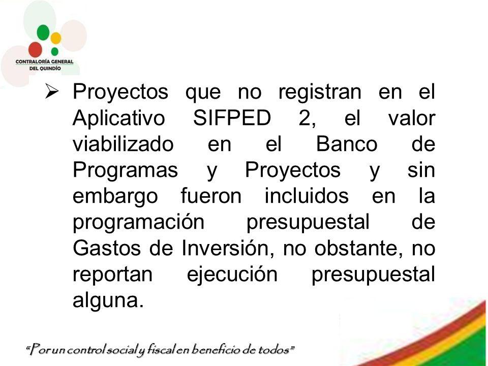 Por un control social y fiscal en beneficio de todos Proyectos que no registran en el Aplicativo SIFPED 2, el valor viabilizado en el Banco de Program