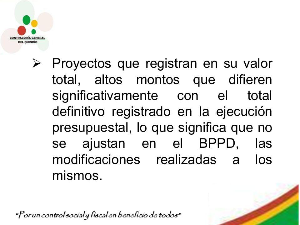 Por un control social y fiscal en beneficio de todos Proyectos que registran en su valor total, altos montos que difieren significativamente con el to