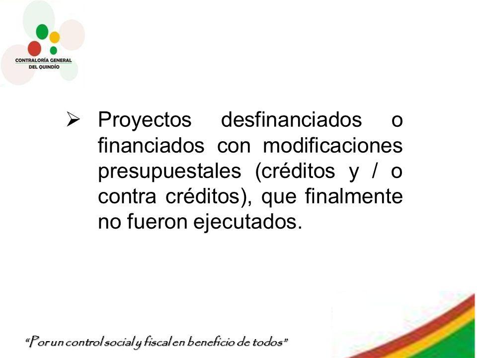 Por un control social y fiscal en beneficio de todos Proyectos desfinanciados o financiados con modificaciones presupuestales (créditos y / o contra c