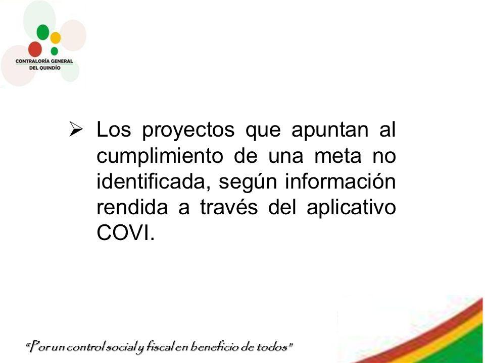 Por un control social y fiscal en beneficio de todos Los proyectos que apuntan al cumplimiento de una meta no identificada, según información rendida