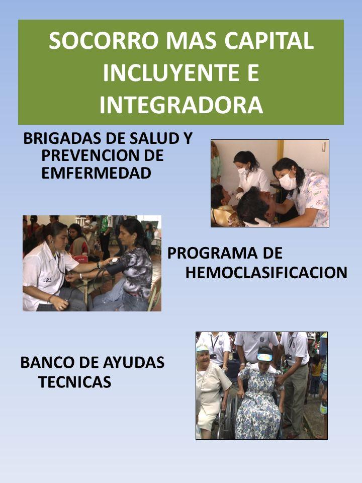 BRIGADAS DE SALUD Y PREVENCION DE EMFERMEDAD SOCORRO MAS CAPITAL INCLUYENTE E INTEGRADORA PROGRAMA DE HEMOCLASIFICACION BANCO DE AYUDAS TECNICAS