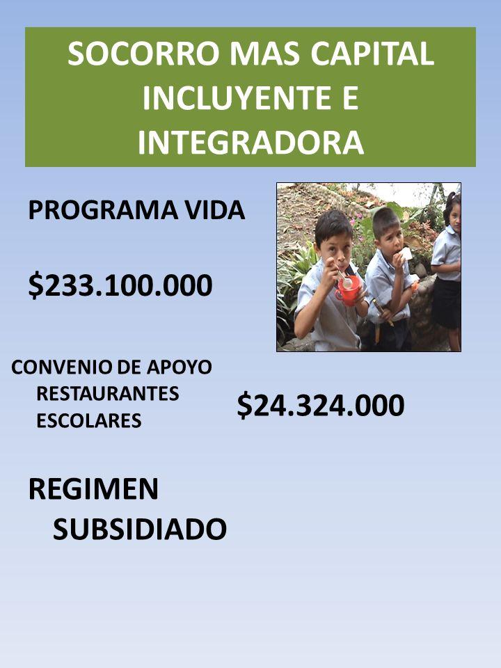 PROGRAMA VIDA SOCORRO MAS CAPITAL INCLUYENTE E INTEGRADORA $233.100.000 CONVENIO DE APOYO RESTAURANTES ESCOLARES $24.324.000 REGIMEN SUBSIDIADO