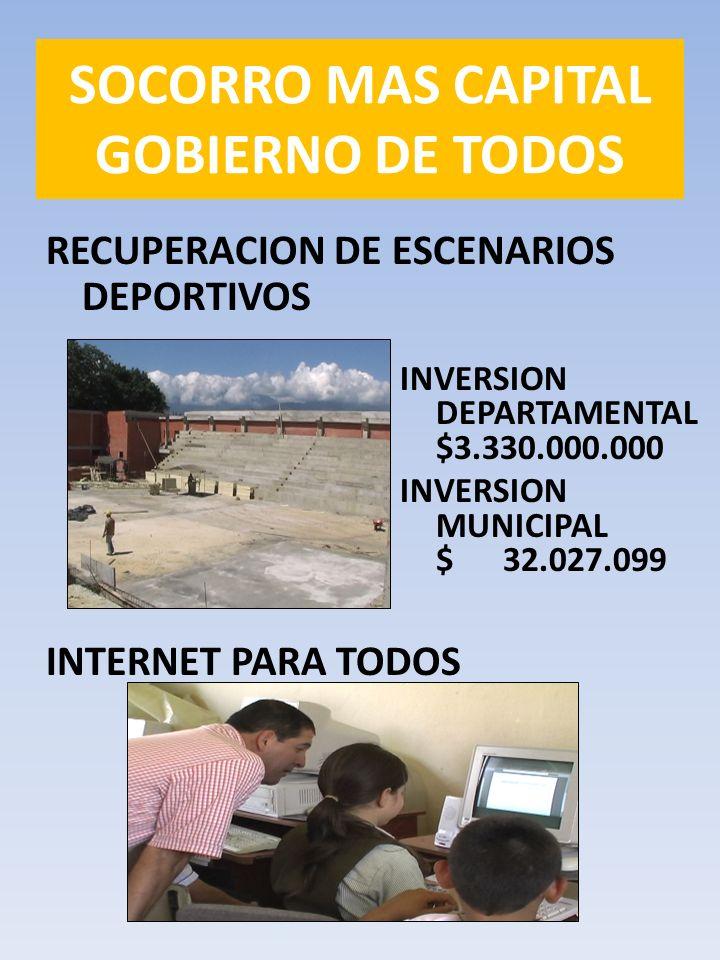 RECUPERACION DE ESCENARIOS DEPORTIVOS SOCORRO MAS CAPITAL GOBIERNO DE TODOS INVERSION DEPARTAMENTAL $3.330.000.000 INVERSION MUNICIPAL $ 32.027.099 INTERNET PARA TODOS