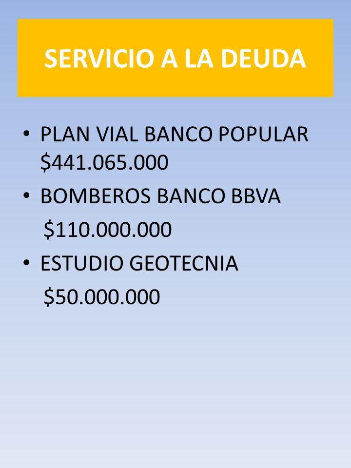 SERVICIO A LA DEUDA PLAN VIAL BANCO POPULAR $441.065.000 BOMBEROS BANCO BBVA $110.000.000 ESTUDIO GEOTECNIA $50.000.000