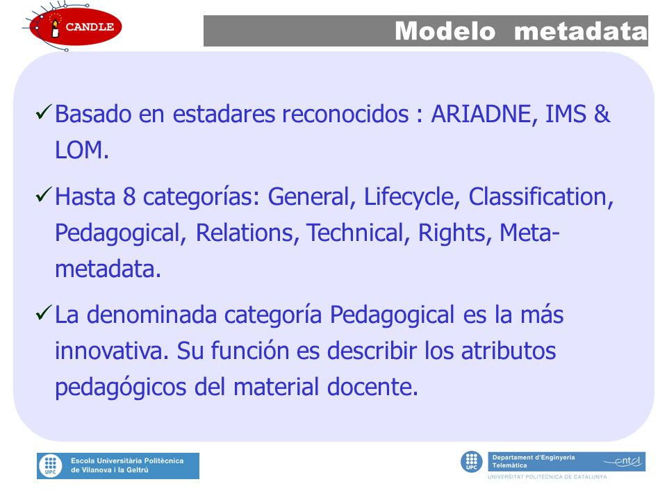 Modelo metadata Basado en estadares reconocidos : ARIADNE, IMS & LOM.