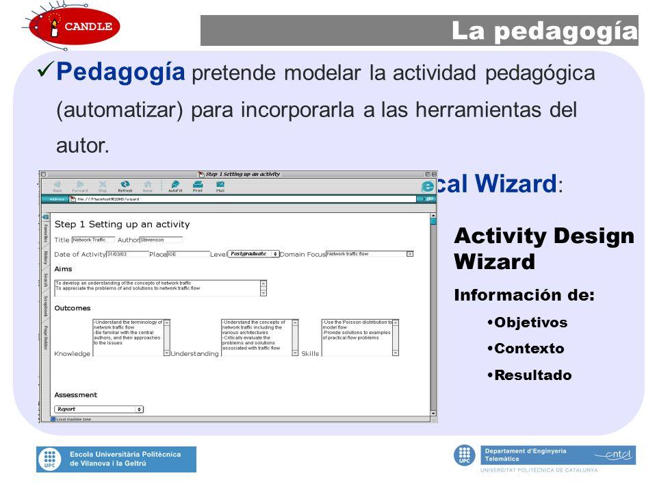 La pedagogía Pedagogía pretende modelar la actividad pedagógica (automatizar) para incorporarla a las herramientas del autor.