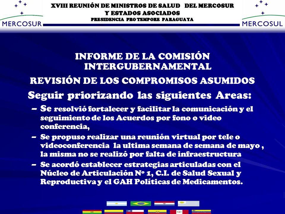 INFORME DE LA COMISIÓN INTERGUBERNAMENTAL REVISIÓN DE LOS COMPROMISOS ASUMIDOS Seguir priorizando las siguientes Áreas: Estrategias y políticas conjuntas en las zonas de fronteras.