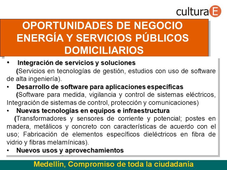 OPORTUNIDADES DE NEGOCIO ENERGÍA Y SERVICIOS PÚBLICOS DOMICILIARIOS OPORTUNIDADES DE NEGOCIO ENERGÍA Y SERVICIOS PÚBLICOS DOMICILIARIOS Integración de servicios y soluciones Integración de servicios y soluciones ( (Servicios en tecnologías de gestión, estudios con uso de software de alta ingeniería).