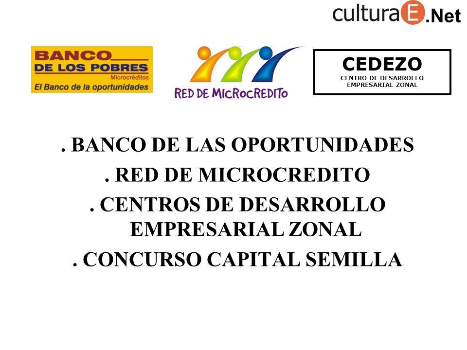 BANCO DE LAS OPORTUNIDADES. RED DE MICROCREDITO. CENTROS DE DESARROLLO EMPRESARIAL ZONAL.