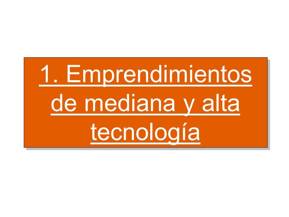 1. Emprendimientos de mediana y alta tecnología