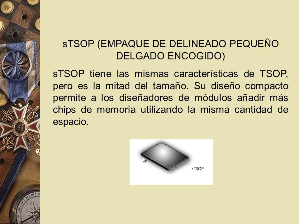 sTSOP (EMPAQUE DE DELINEADO PEQUEÑO DELGADO ENCOGIDO) sTSOP tiene las mismas características de TSOP, pero es la mitad del tamaño. Su diseño compacto