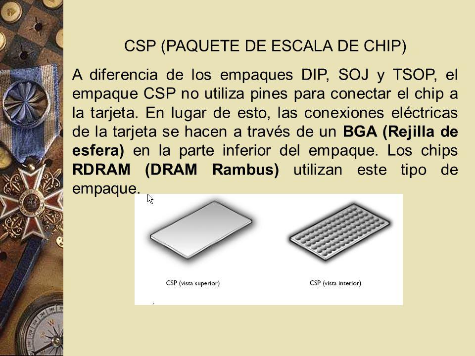 CSP (PAQUETE DE ESCALA DE CHIP) A diferencia de los empaques DIP, SOJ y TSOP, el empaque CSP no utiliza pines para conectar el chip a la tarjeta. En l