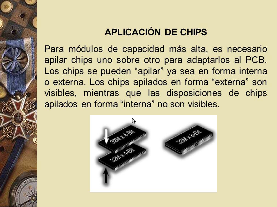 APLICACIÓN DE CHIPS Para módulos de capacidad más alta, es necesario apilar chips uno sobre otro para adaptarlos al PCB. Los chips se pueden apilar ya