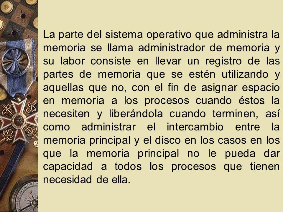La parte del sistema operativo que administra la memoria se llama administrador de memoria y su labor consiste en llevar un registro de las partes de