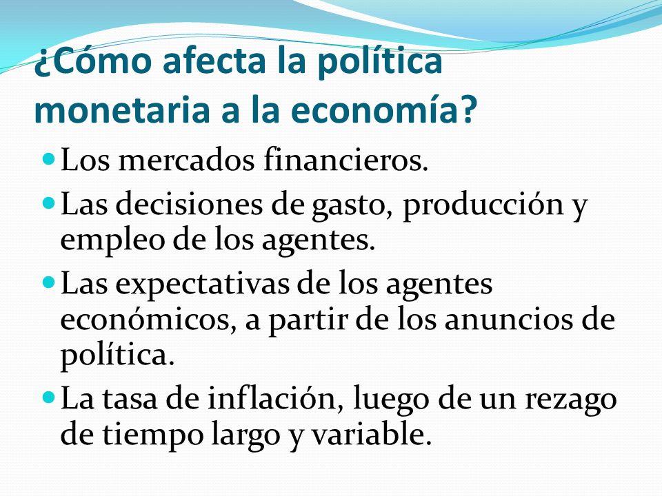 ¿Cómo afecta la política monetaria a la economía? Los mercados financieros. Las decisiones de gasto, producción y empleo de los agentes. Las expectati
