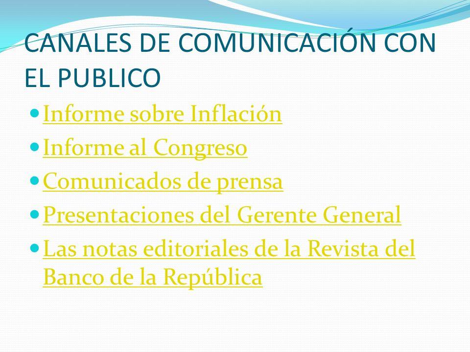 CANALES DE COMUNICACIÓN CON EL PUBLICO Informe sobre Inflación Informe al Congreso Comunicados de prensa Presentaciones del Gerente General Las notas