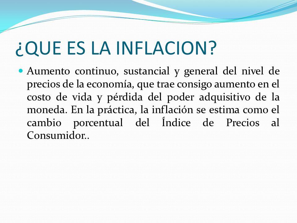 ¿QUE ES LA INFLACION? Aumento continuo, sustancial y general del nivel de precios de la economía, que trae consigo aumento en el costo de vida y pérdi
