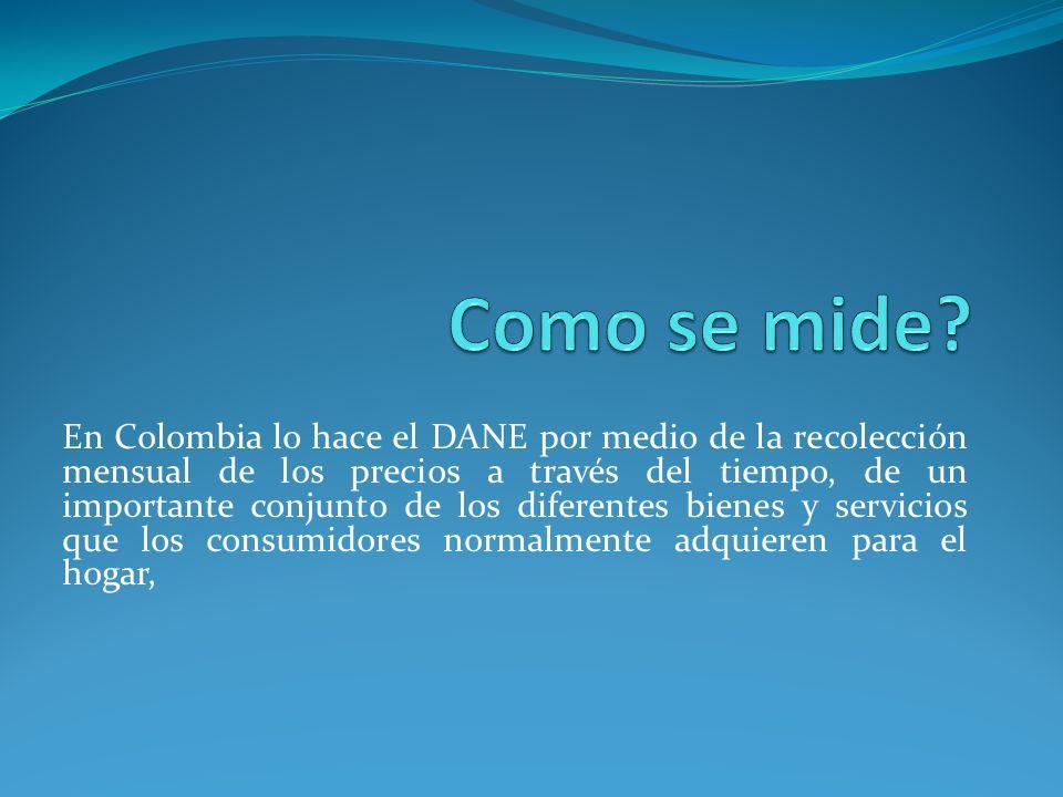 En Colombia lo hace el DANE por medio de la recolección mensual de los precios a través del tiempo, de un importante conjunto de los diferentes bienes y servicios que los consumidores normalmente adquieren para el hogar,