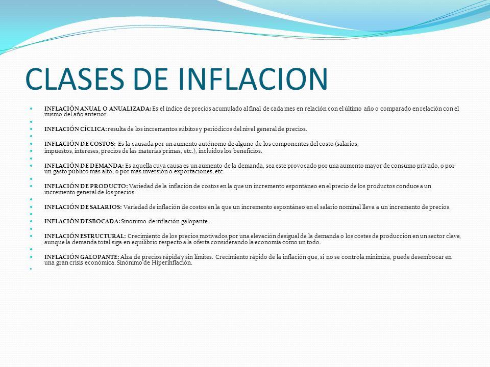 CLASES DE INFLACION INFLACIÓN ANUAL O ANUALIZADA: Es el índice de precios acumulado al final de cada mes en relación con el último año o comparado en relación con el mismo del año anterior.