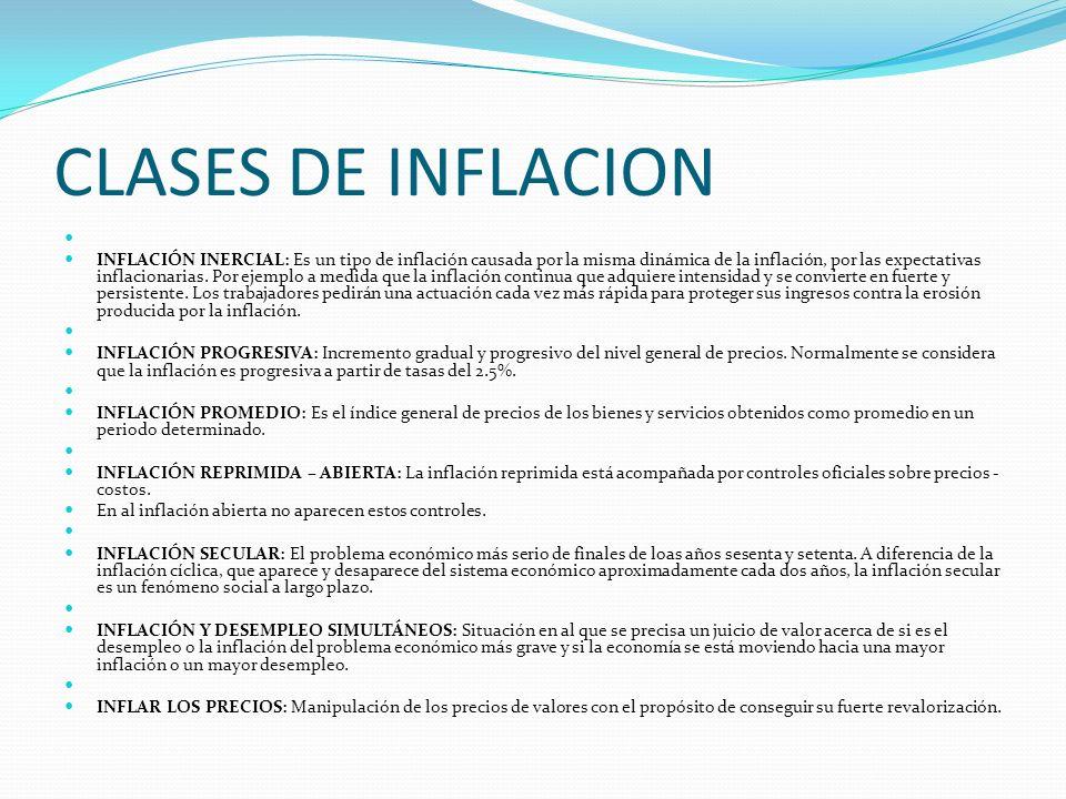 CLASES DE INFLACION INFLACIÓN INERCIAL: Es un tipo de inflación causada por la misma dinámica de la inflación, por las expectativas inflacionarias.