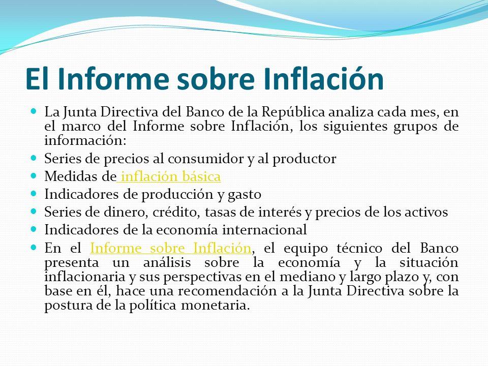 El Informe sobre Inflación La Junta Directiva del Banco de la República analiza cada mes, en el marco del Informe sobre Inflación, los siguientes grup