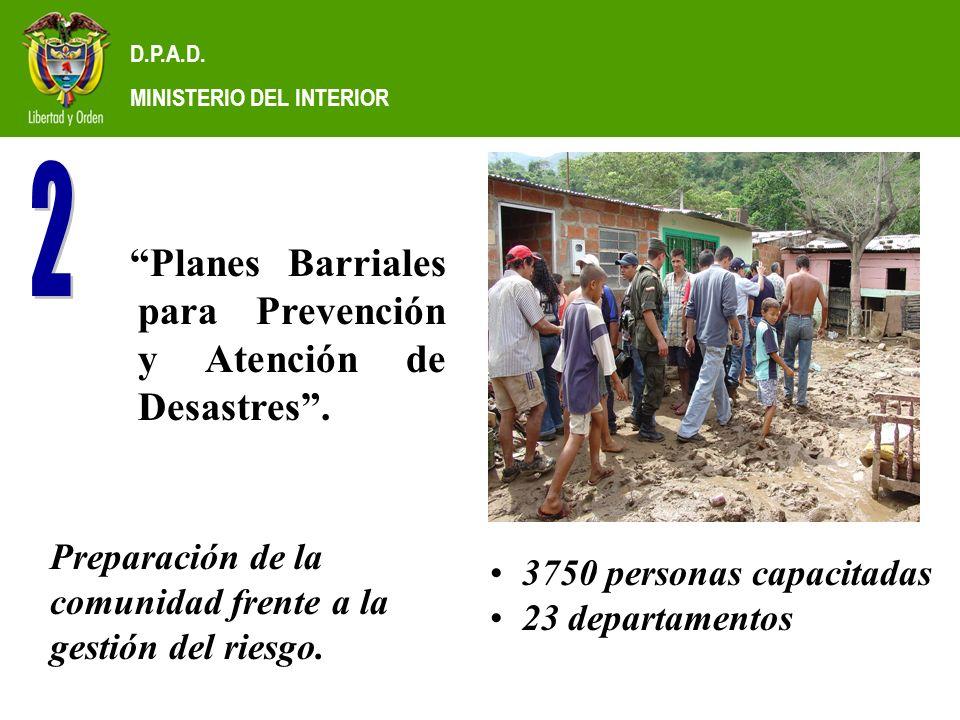 D.P.A.D. MINISTERIO DEL INTERIOR Planes Barriales para Prevención y Atención de Desastres.