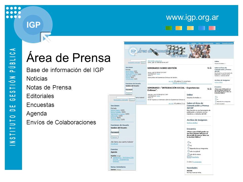 www.igp.org.ar BBP Clasificación por temas Experiencias Exitosas Desarrollo de las Experiencias Direcciones de Contacto PARTICIPACIÓN Códigos de Publicación para el envío de Experiencias Éxitosas