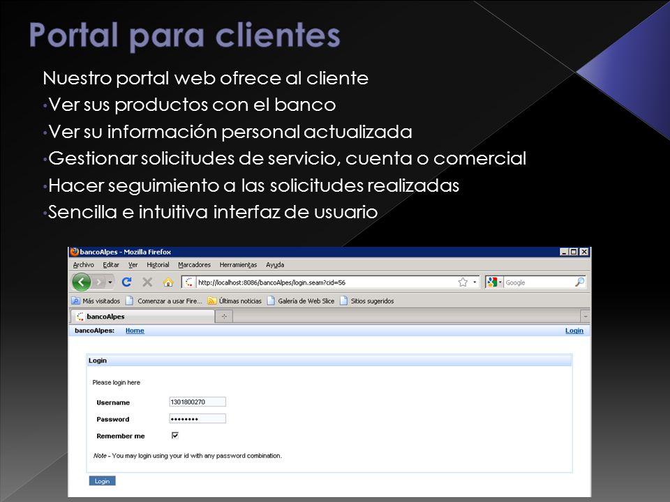 Nuestro portal web ofrece al cliente Ver sus productos con el banco Ver su información personal actualizada Gestionar solicitudes de servicio, cuenta o comercial Hacer seguimiento a las solicitudes realizadas Sencilla e intuitiva interfaz de usuario